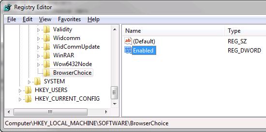Remove Windows Browser Choice