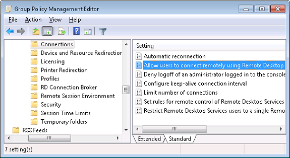 Enable Remote Desktop via Group Policy