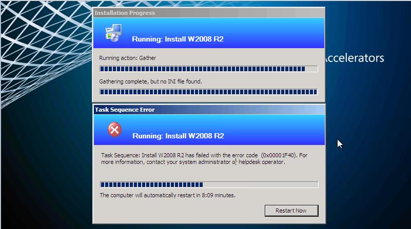 Task Sequence error 0x00001F40