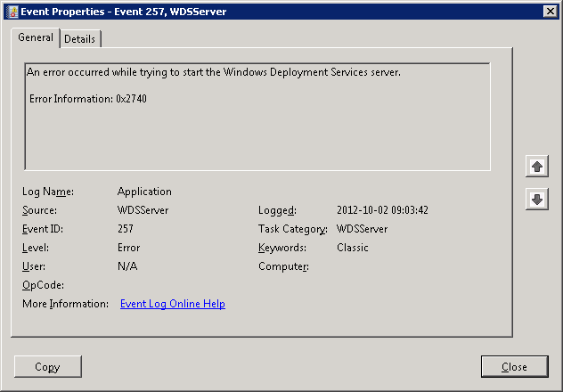 Problems starting WDS after PXE is enabled in SCCM