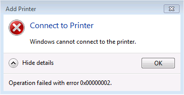 Printer Problem 0x00000006 and 0x00000002 – Jocha