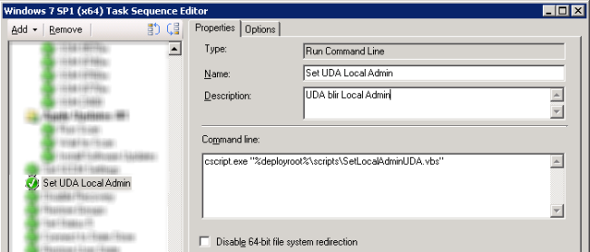 Set UDA as Local adminstrator via Task Sequence