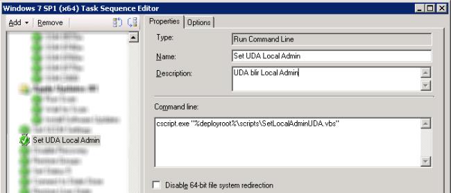 Set UDA as Local adminstrator via Task Sequence