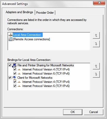 Configure Windows 7 Network Adapter Binding Priority