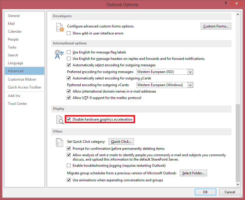 Outlook 2013: Disable hardware graphics acceleration