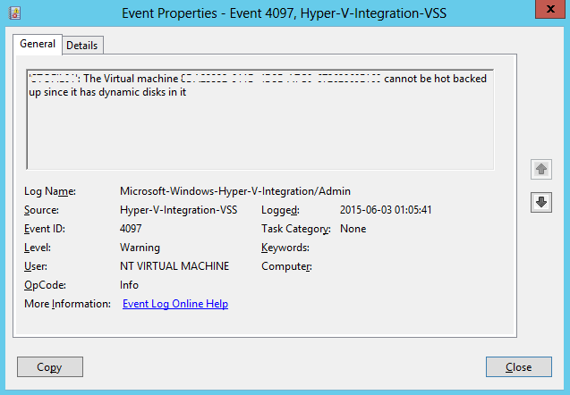 Hyper-V cannot back up VMs with Dynamic drives