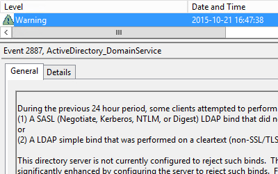 SASL/LDAP Simple warning on Domain Controllers