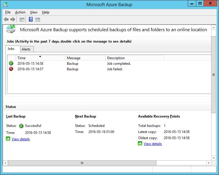 Azure Backup Job Failed 0x1D4C2