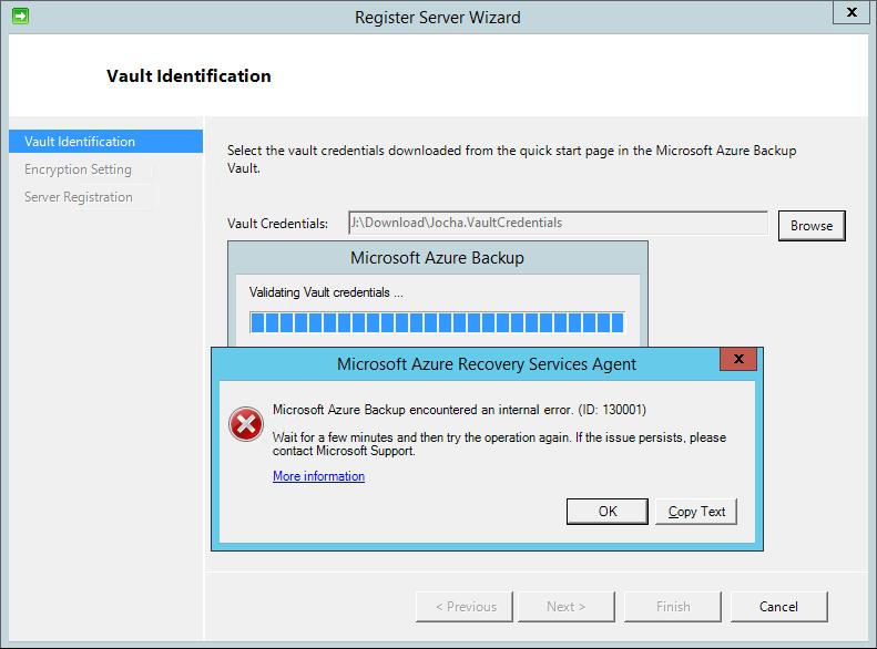 Azure Backup internal error (ID: 130001)